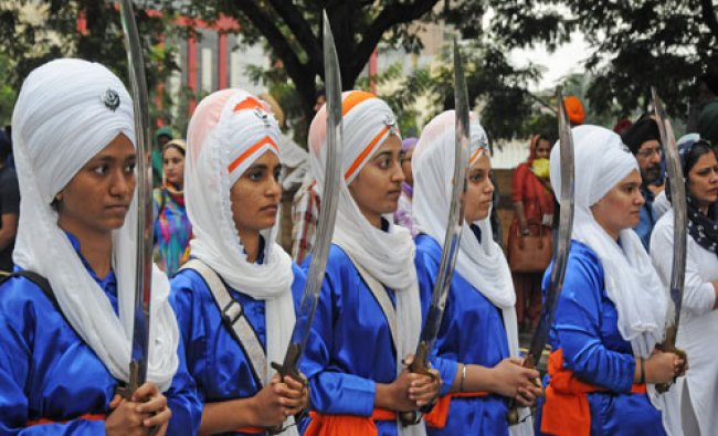 Sikh community people are participated in Guru Nanak birth day procession organised...