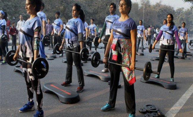 People take part in Raahgiri Day programme in Gurgaon...