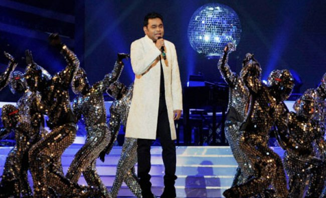 Singer A R Rahman performing on the occasion of birth anniversary of Samajwadi Party supremo...