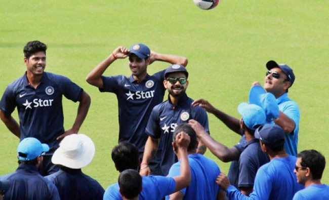 Team India Director Ravi Shastri, skipper Virat Kohli and other players at a practice session...