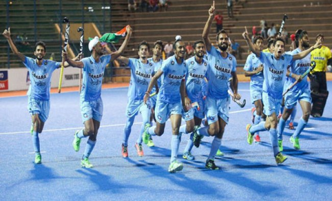 Indian Junior Mens Hockey Team celebrating after winning 8th Junior Mens Asia Cup against...