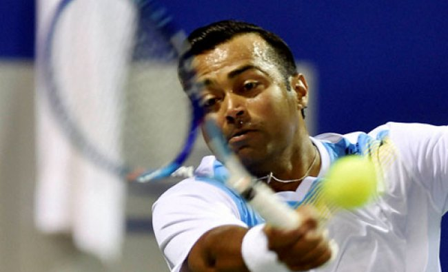 Leander Paes of India practicing on the eve of ATP Chennai Open 2016 at SDAT Tennis Stadium...