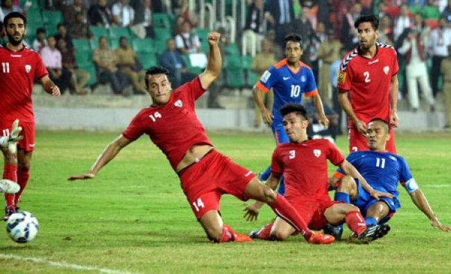 Players of India and Afghanistan in action during their SAFF Suzuki Cup 2015 match...