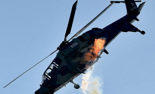 A Light Combat Helicopter (LCH) manuevres during the laying the foundation stone for HAL\'s...