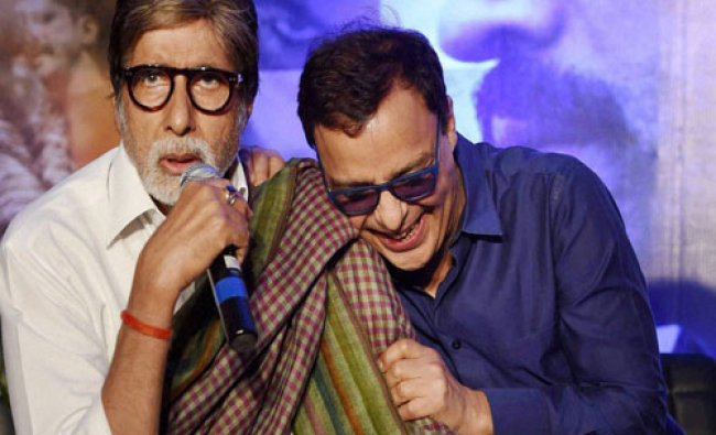 Actor Amitabh Bachchan along with producer Vinod Chopra during a press conference of thier...