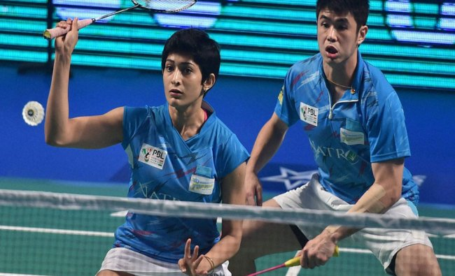 Bengaluru Topguns Ashwini Ponnappa and Khim Wah Lim play against...
