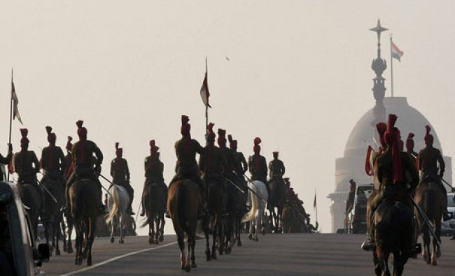 President\'s bodyguards rehearse for the Beating Retreat at Vijay Chowk in New Delhi...