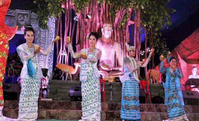 Artists from Myanmar perform during International Buddha Mahotsav in Bodhgaya...