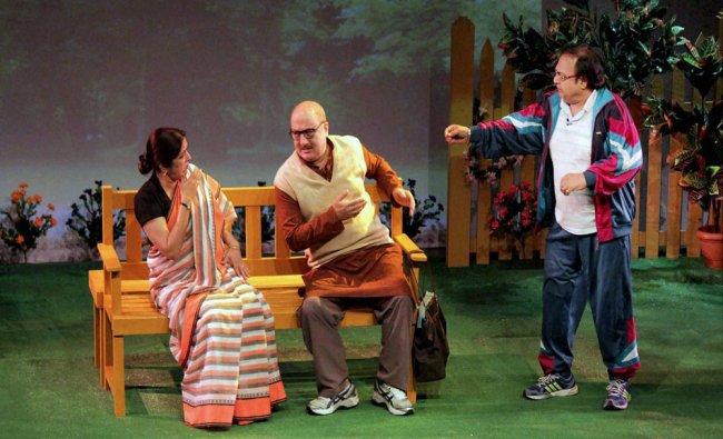 Bollywood actors Anupam Kher, Neena Gupta and Rakesh Bedi perform in a play...