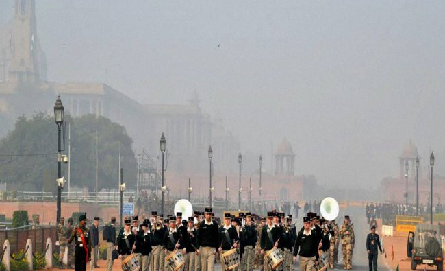 French soldiers participating in a rehearsal for the Republic Day Parade at Rajpath...