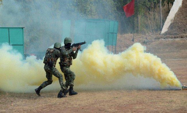 Madhya Pradesh Police Hawk Force jawans perform mock-drill against terrorists...