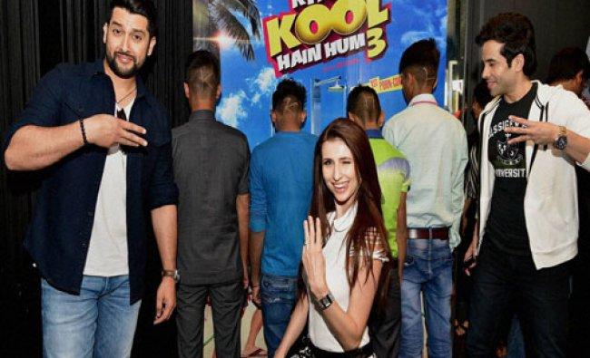 Actors Aaftab Shivdasani, Tushar Kapoor and Claudia Ciesla pose during a promotional event...