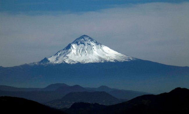 The snow covered Popocatepetl volcano is seen from the Nevado de Toluca volcano, Mexico...