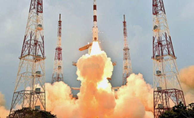 Indian Space Research Organisation (ISRO)\'s PSLV-C31 carrying IRNSS-1E takes off during its...
