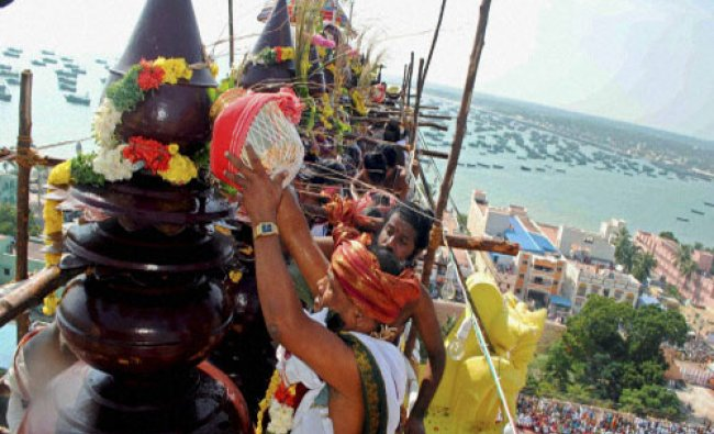 Priests perform rituals during the \'kumbabishekam\' at the historic Sri Ramanathaswamy Temple in...