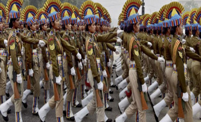 Women contingent of CRPF during a rehearsal for the Republic Day Parade at Rajpath in New Delhi...