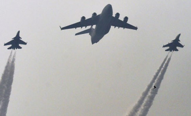 Indian Air Force\'s planes during a rehearsal for the Republic Day Parade at Raj path in...