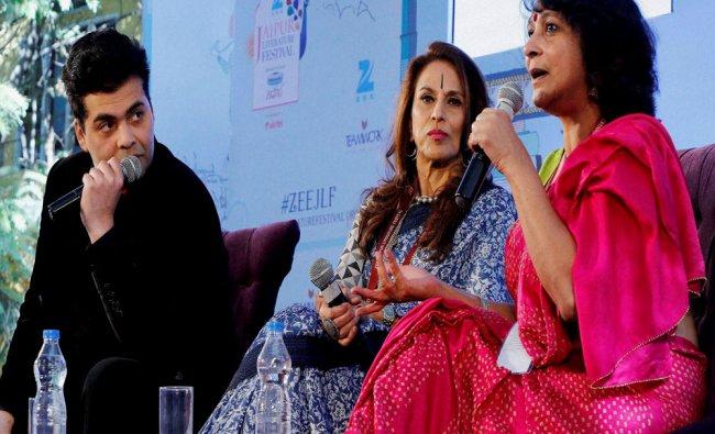 Karan Johar with Shobhaa De and Poonam Saxena during the Jaipur Literature Festival 2016...