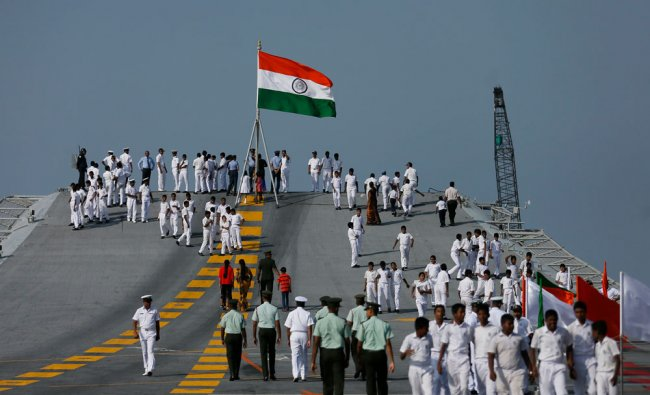 Sri Lankan school students visit India\'s largest naval ship, the aircraft carrier INS Vikramaditya..