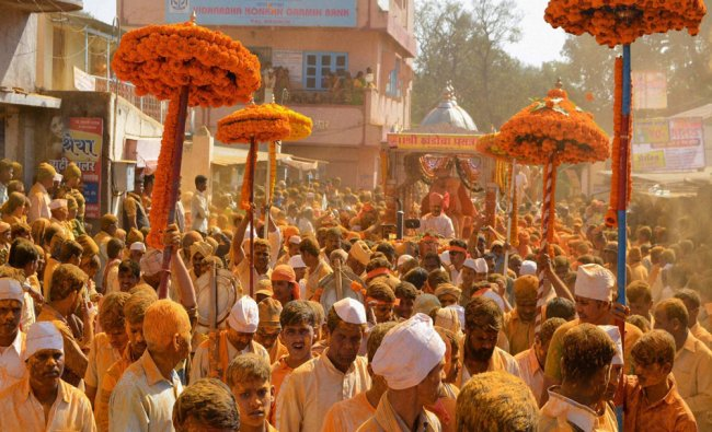 Thousands of devotees take part in Khandoba procession during the celebration of Khandoba Yatra...