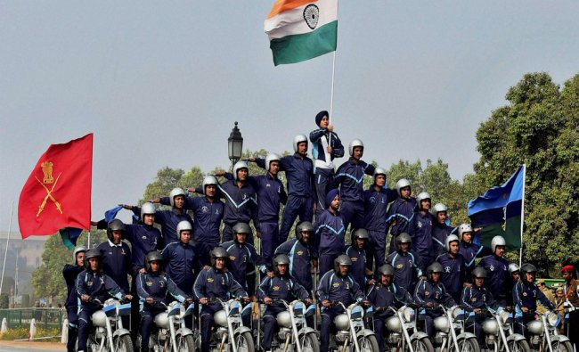Army daredevils display their skills on motorcycles during a rehearsal for the Republic Day Parade..
