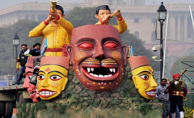 A tableau during a rehearsal for the Republic Day Parade at Raj path...