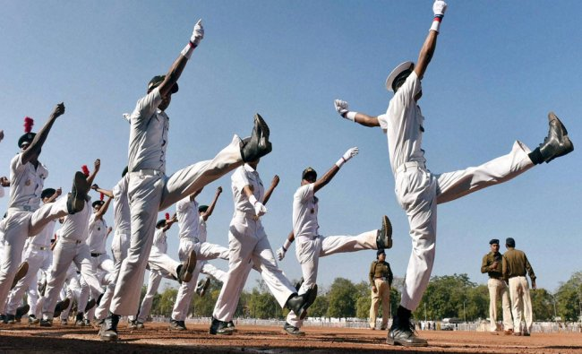 NCC Naval Wing contingent in action during rehearsal for Republic Day parade in Bhopal...