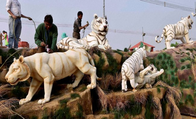 Workers give finishing touchesto a tableau of artificial white tigers from Madhya Pradesh...
