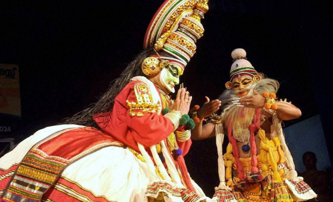 Presentation of Kathakali story Nalacharitham at Kathakali Festival in Kochi...