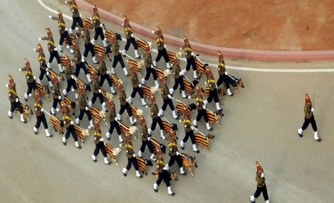 The marching contingent of Indian Army\'s dog squad during the 67th...