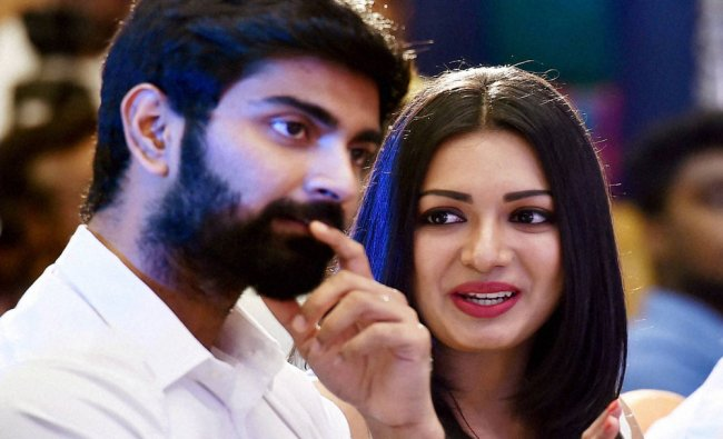 Atharvaa and Catherine Tresa during the audio launch of their upcoming movie Kanithan...