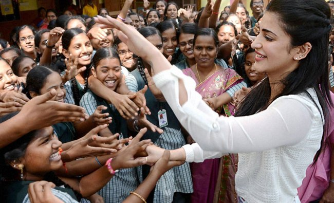 Shruti Hassan celebrating her birthday with blind children at an event Save the Blind Children...