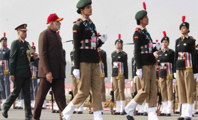 Modi inspecting the Guard of Honour during the Prime Minister\'s NCC Rally...