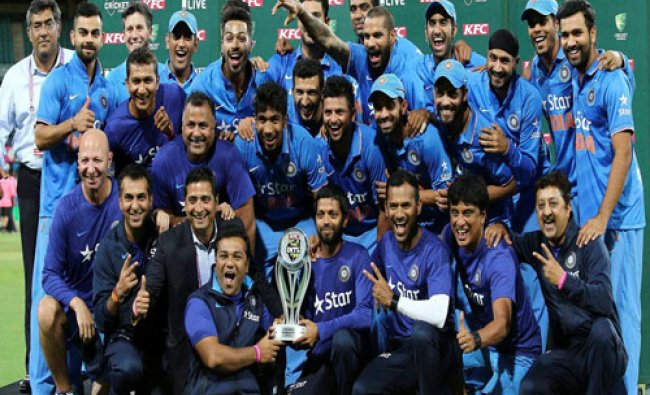 India Cricket team celebrates winning the the T20 International cricket series against Australia ...
