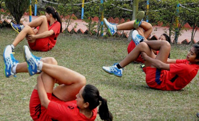 Players of Women Volleyball team of Nepal during the practice session ahead of 12th South Asian Game