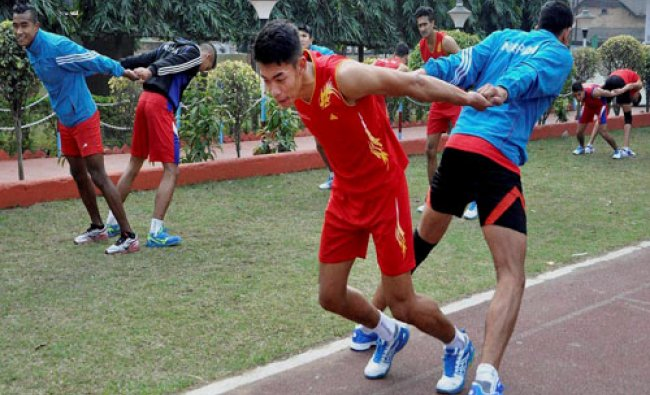 Men\'s Volleyball team of Nepal during the practice session ahead of 12th South Asian Games, at SAI..