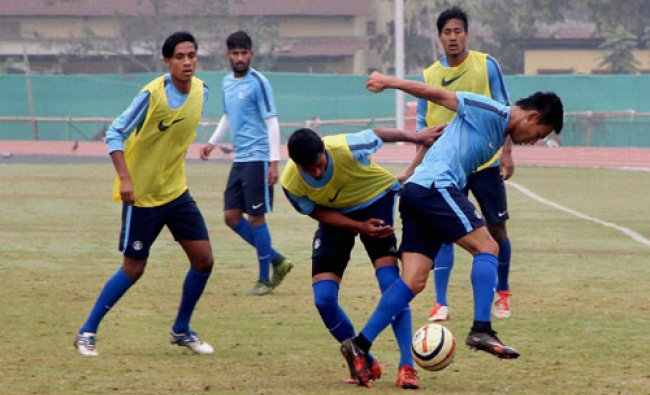 Indian football team player during a practice session ahead of the 12th South-Asian Games at Indir..