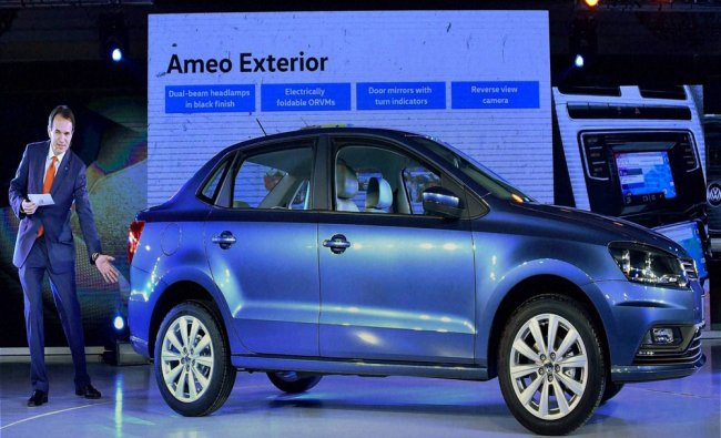 Launch of New Volkswagen Ameo car in New Delhi on Tuesday...