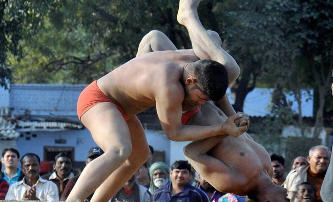 Players in action during a Kushti Dangal organised as a part of Lucknow Mahotsav...