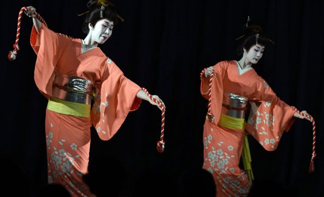 Japanese artists Miotatani Orii and Umeda Chiaki performs Nihonbuyo cultural dance...