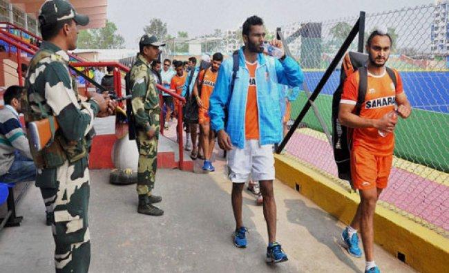 Security personnel keep vigil at Md. Tayabullah hockey stadium, Bhetapara while players of Indian...