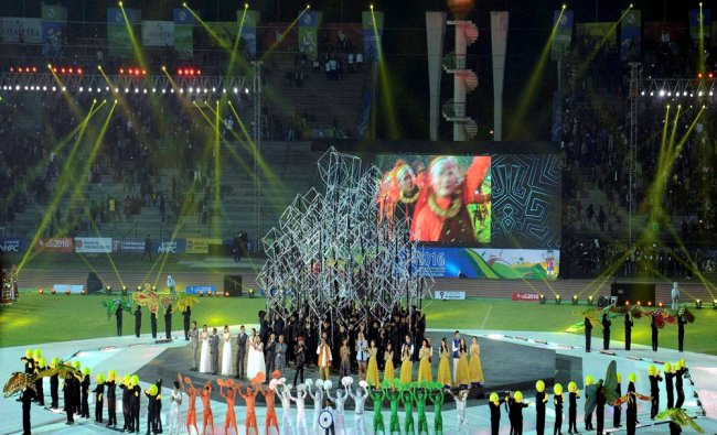 Artists perform at the opening ceremony of 12th South Asian...
