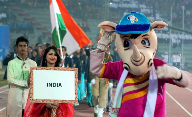 The official mascot of 12th South Asian Games, \'Tikhor\', a baby rhino...
