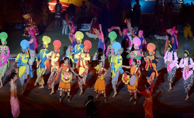 Artists perform at the opening ceremony of 12th South Asian Games...