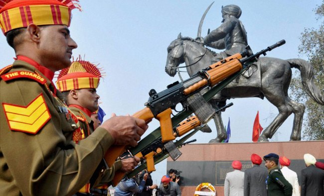 Jawans pay tribute at the memorial of the Sikh warrior General Sardar Sham Singh Attari ...
