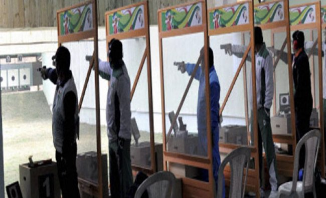 Shooters of India and Pakistan take part in the individual 25m center fire pistol men\'s...