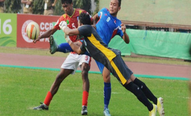 Bangladesh Goalkeeper Md Rasel Mahmud in action against Nepal during the group matches of the...