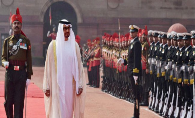 Sheikh Mohammed bin Zayed Al Nahyan, Crown Prince of Abu Dhabi inspects guard of honour during...