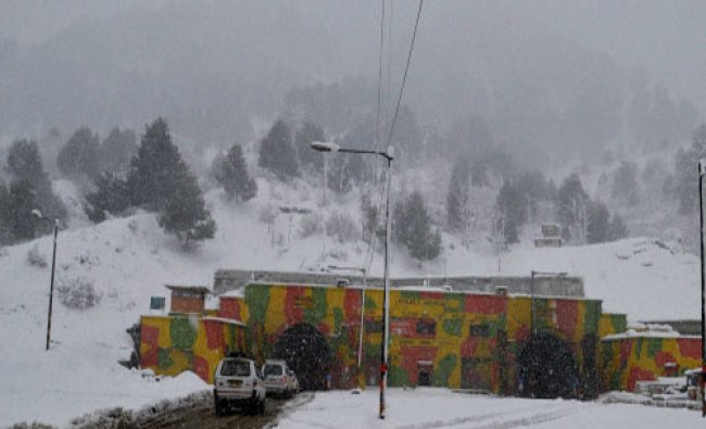Vehicles stranded at Jawahar Tunnel, which connects the valley to the rest of the country during...