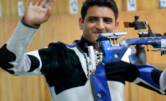 Indian shooter, Chain Singh celebrates after winning gold medal in the 10m Air Rifle Men\'s final...